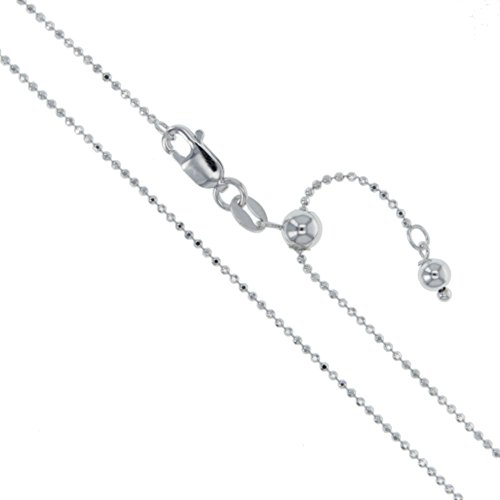 Rhodium Plated Sterling Silver Adjustable Diamond-Cut Ball Bead Chain 1.2mm 925 Italy Dog Tag Necklace 22
