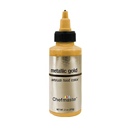 Chefmaster by US Cake Supply 2-Ounce Airbrush Cake Food Color Metallic Gold
