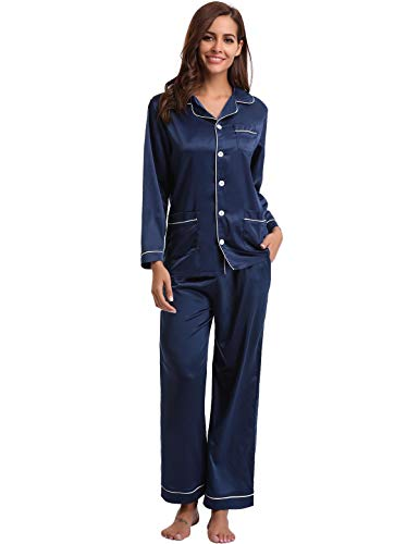 Abollria 2 Satin Ensemble Classique Navy Pcs Nuit Vêtement Pyjama De Femmes Bleu rFq6R1r