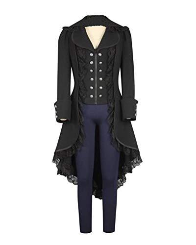 (Women's Tuxedo Vintage Tailcoat Jacket Lace Edge Gothic Victorian Frock Coat Uniform Costume Black)
