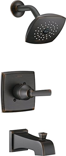 Delta Ashlyn 14 Series Single-Function Tub and Shower Trim Kit with Single-Spray Touch Clean Shower Head, Venetian Bronze T14464-RB (Valve Not Included)