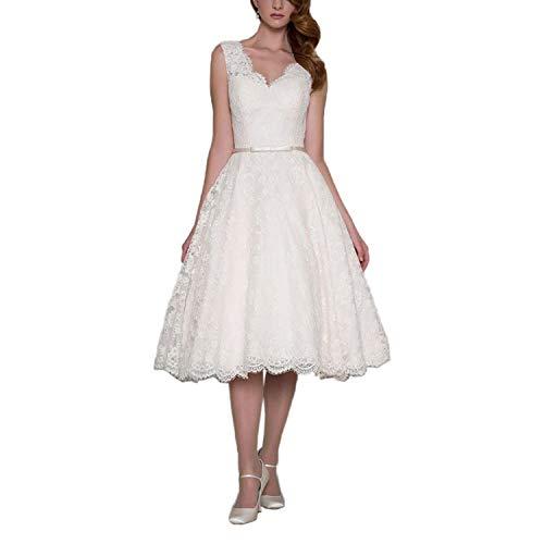 (Dreagel Women's Vintage Lace Wedding Dresses Tea Length V Neck Appliques Bridal Dress Ivory C US 14)
