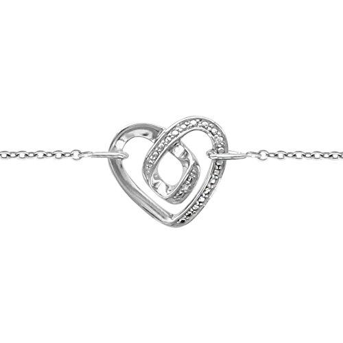 So Chic Bijoux © Bracelet Femme & Enfant Longueur Réglable: 16 à 19 cm Chaîne Coeur Spirale Oxyde de Zirconium Blanc Argent 925