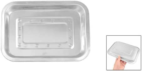 Portable 26cm x 19cm Stainless Steel Dinner Plate Dish Tray Silver Tone
