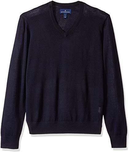 BUTTONED DOWN Men's Italian Merino Wool Lightweight Cashwool V-Neck Sweater, Midnight Navy, X-Large -