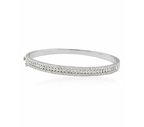 - 1/2 CTTW Sterling Silver White Diamond with illusion plate bangle