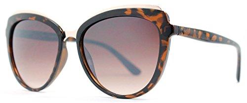 Two Tone Brown Plastic Sunglasses - Froya Vintage Retro Oval Metal Bridge Sunglasses- Stylish Two Tone Faded Lens for Women- Tortoise
