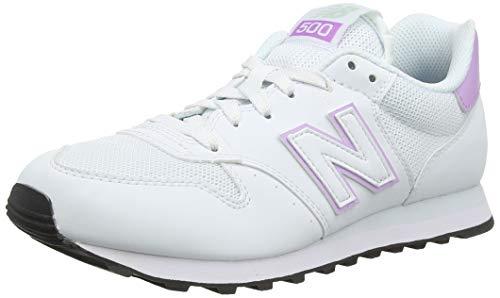 New Balance Women's 500 Trainers, White (Munsell White/Dark Violet Glo/Platinum Sky Swv), 4.5 37 EU