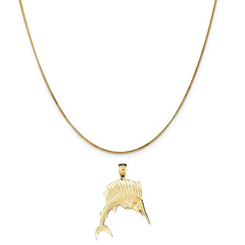 14k Yellow Gold Sailfish Pendant on a 14K Yellow Gold Curb Chain Necklace, 16'' by Eaton Creek Collection