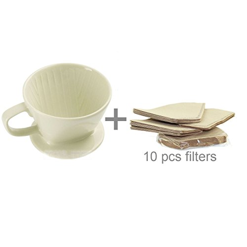 (DOWONSOL Ceramic Porcelain milky white Coffee maker Dripper Sever Set Coffee Filter Cone)
