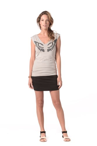 Angel Wing Reversible V-Neck Top M in Pebble