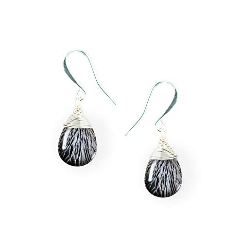 Laura Dangle Drop Earrings, Handmade Wire Wrapped Glass, Black and White Bird Feathers on Fish Hook Wires ()