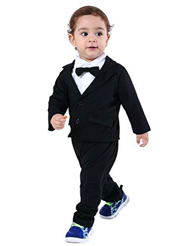 - Abolai Baby Boys Gentleman Sets Blazer and Pant and Long Sleeve Shirt 3pcs Leisure Suit Black 90