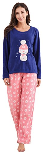 Richie House Women's Soft and Warm Fleece Two-Piece Set RHW2773-A-L Navy/Pink (Pajama Set Snowman)