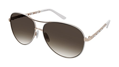Elie Tahari Women's Th649 Rgdwh Aviator Sunglasses, Rose Gold / White, 61 - Sunglasses Tahari Elie