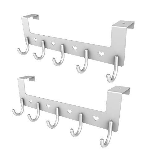 Silver Heart Hook - 2 Packs Dosens Over The Door Organizer Rack, Metal Coat Hanger with 5 Hooks - Silver