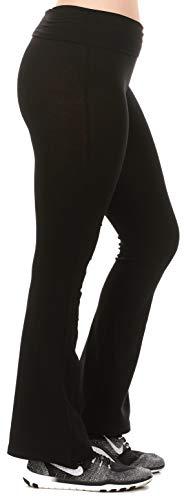 Yoga Pants for Women Fold Over High Waist Bootcut Long -