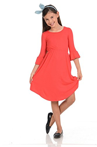 Pastel by Vivienne Honey Vanilla Girls Fit and Flare Midi Dress with Bell Sleeve