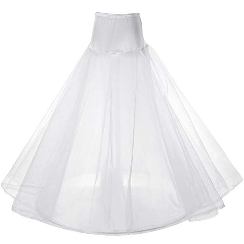 Womens A-line One Hoop Bridal Petticoat 3-Layers Gown Slips Crinoline Underskirt White ()