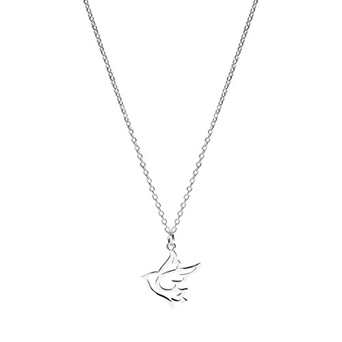 """Sterling Silver Dove Bird Pendant Necklace, 17.5"""""""