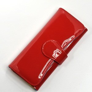 KLOUD City Red patent synthetic leather women clutch wallet