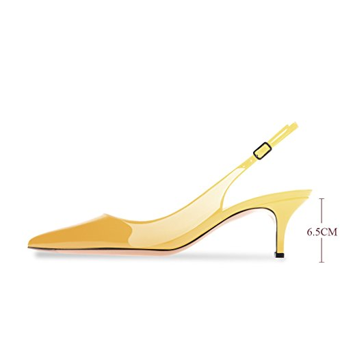 Modemoven Women's Yellow Patent Leather Pointed Toe Slingback Ankle Strap Kitten Heels Pumps Evening Stiletto Shoes - 10.5 M US by Modemoven (Image #5)