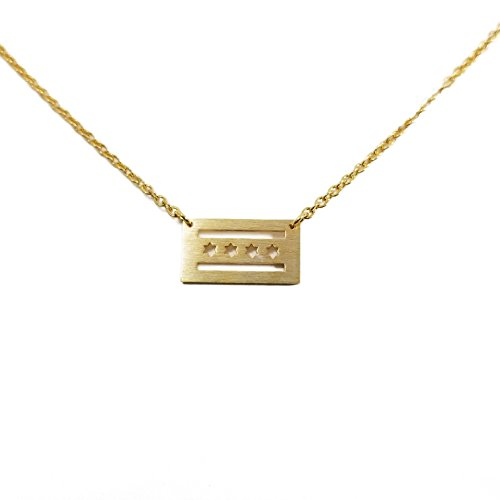 Lil Pepper Jewelry Chicago Flag Gold Plated Necklace Trendy Dainty Geometric USA Windy City ()