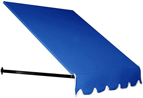Awntech 8-Feet Dallas Retro Window Entry Awning, 44-Inch Height by 24-Inch Diameter, Bright Blue
