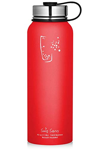 SWIG SAVVY 30oz Water Bottles Stainless Steel - Vacuum Insulated Water Bottle + Stainless Steel Leak & Sweat Proof Cap Double Wall Thermos Flask for Hot or Cold Beverages (Red) by SWIG SAVVY
