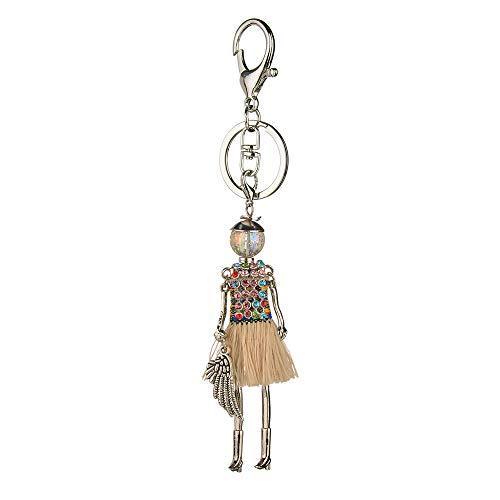 - QTKJ Cute Girl with Angel Wing Keychain Tassels Crystal Skirt Key Ring Handbags or Car Key Charm Tassel Ornaments (Beige)