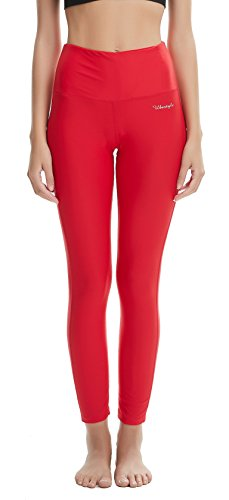 Ubestyle UPF 50+ High Waist Women's Leggings Swimming Tights Sun Protective (Red, M) (Tights Red Leggings)