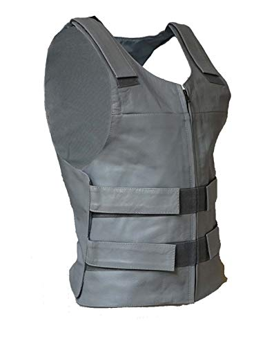 (IKleather Mens Bullet Proof style Leather Motorcycle Vest for bikers Club Tactical Vest (5XL, Silver) )
