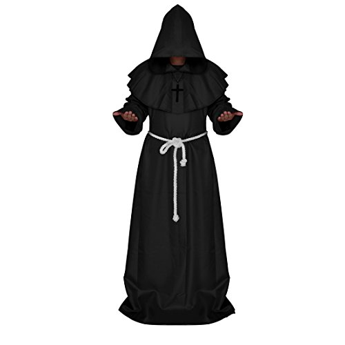 [Monk Robe, Ivysky Medieval Priest Robe with Hooded Cape Cloak Costume for Cosplay Unisex (XL,] (Missionary Costumes)
