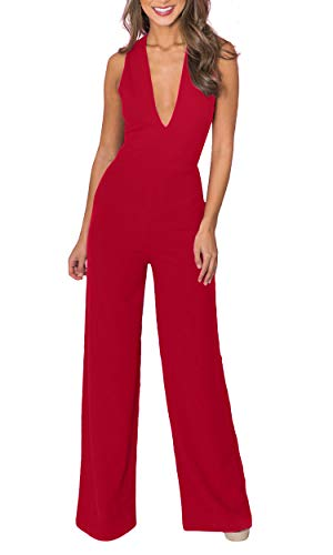 Carprinass Womens's Chic Party Sleeveless Plunge Jumpsuit Long Pants Burgundy XL