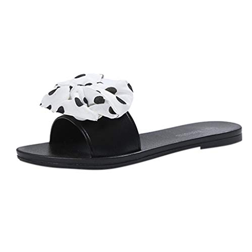 Women's Slides Sandals Bowknot Beach Casual Comfort Slippers,FAPIZI Fashion Polka Dot Flat Outdoor Shoes White