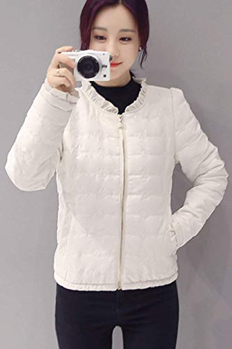Autunno Piumini Tasche Volant Cerniera Vintage Coat Giacche Giacca Manica Giovane Fashion Colore Donna Cappotto Puro Invernali Bianca Casual Lunga Con Trapuntata Chiusura A ZxnAqawgE