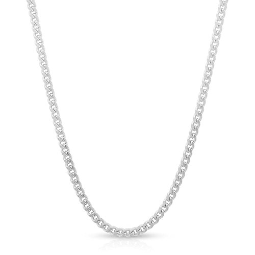 Patented ITProLux - 2mm Miami Cuban Curb Link - 925 Sterling Silver - Solid Necklace Chain - Made In Italy - 16 - 30
