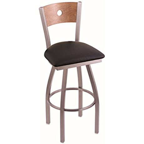 Holland Bar Stool Co 830 Voltaire 30 Bar Stool With Stainless Finish Medium Maple Back And Swivel Seat Black Vinyl