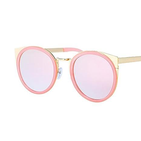 LXKMTYJ Occhi di gatto Occhiali da sole personalità cerchio gatti orecchio Occhiali da sole rosa colorato riflettente Occhiali da sole, champagne rosa