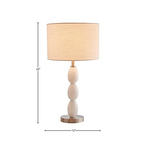 Amazon Brand – Stone & Beam Modern Glass Curved Base Nightstand Table Lamp With LED Light Bulb - 12 x 12 x 22.5 Inches, White