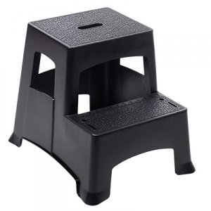Farm & Ranch 2-Step Plastic Step Stool, Textured Steps, Black by Farm & Ranch