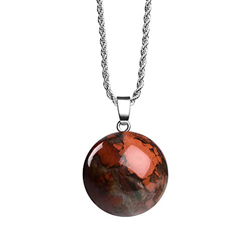iSTONE Natural Gemstone Bloodstone 20mm Bead Shape Healing Crystals Chakra Stones Stainless Steel Chain 24 - Crystal Handmade Pendant