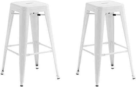 La Silla Española - Pack 2 Taburetes estilo Tolix. Color Blanco. 76x43x43: Amazon.es: Hogar