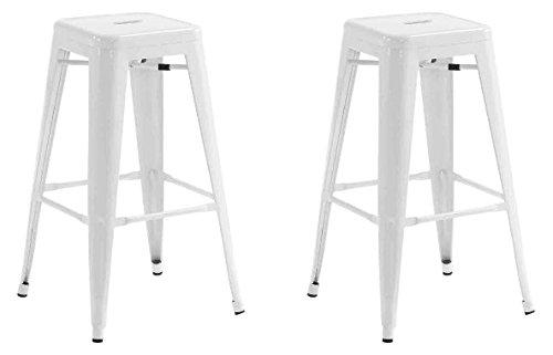 La Silla Espanola - Pack 2 Taburetes estilo Tolix. Color Blanco. 76x43x43