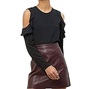 VESNIBA Women's Long Sleeve Tops Strapless Chiffon Solid Blouse Shirt Black Small