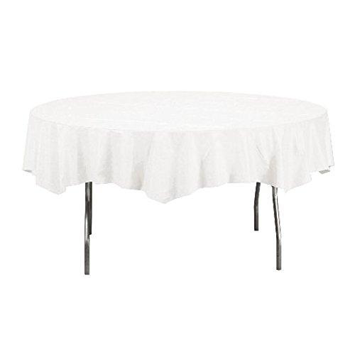"84"" Round White Plastic Tablecloth 12 Pieces Party Decor"