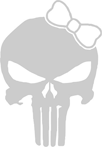 All About Families Punisher Girl Skull with Bow TIE ~ Reflective ~ Die Cut 3M Vinyl Decal Sticker/Tool Box/Phone/CAR/Truck/Decal Sticker with Alcohol PAD ~ 5