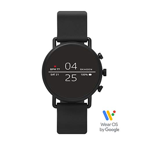 Skagen Connected Falster 2 Stainless Steel and Silicone Touchscreen Smartwatch, Color: Black (Model: SKT5100)