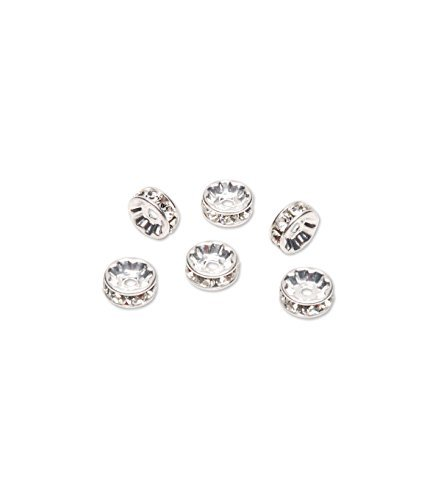 Swarovski Rondelle Spacer Rhodium Plated, 8mm