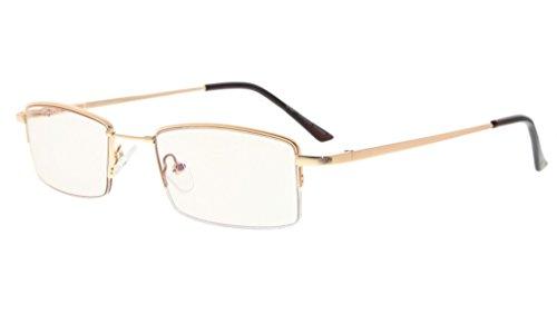 (Eyekepper Half-Rim Memory Titanium Bridge Reading Glasses for Video Games Blue Light Blocking Readers Amber Tinted Lenses (Gold,+2.25) )